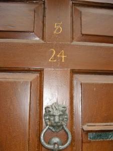 Door with numbers