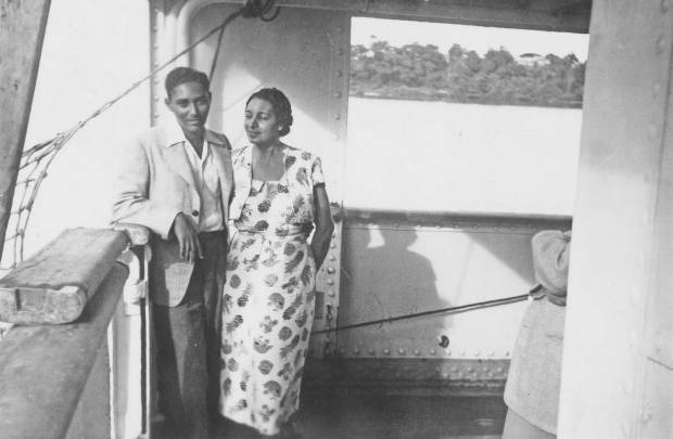 Hall and his mother on boat