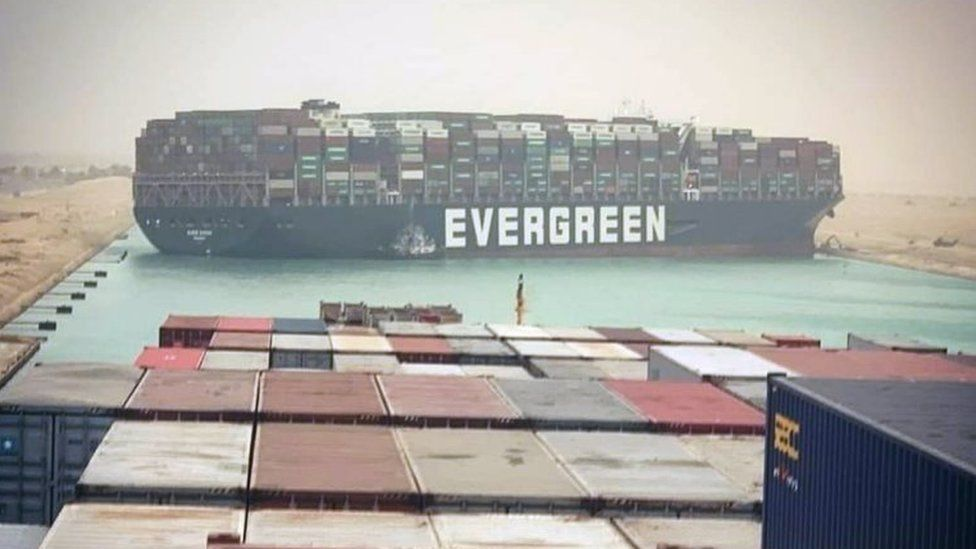 Photo of the Evergreen stuck in the Suez canal